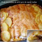 Roulé de pommes de terre garni de viande hachée