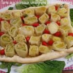 Tarte aux poireaux vinaigrette et fromage blanc