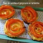 Fleur de carottes et gorgonzola en tartelettes